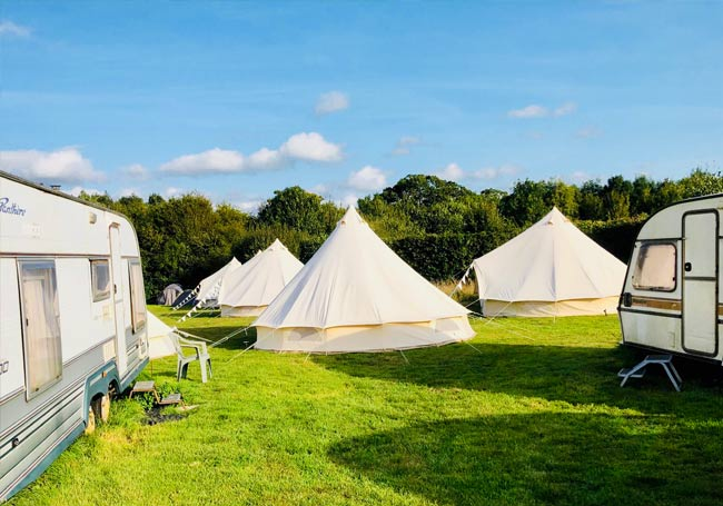 Tents and caravans in a field