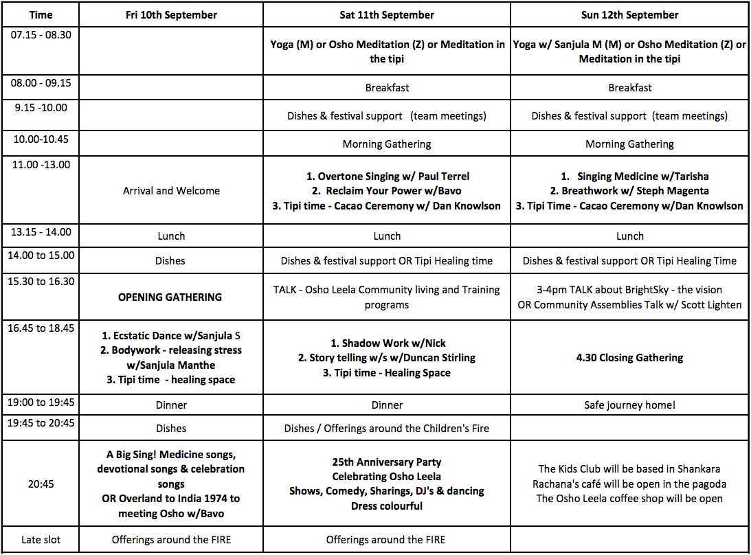 Brightsky festival timetable